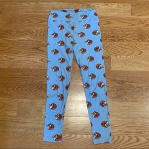 LuLaRoe Blue Soft Sleepy Fox Leggings OS Rare HTF